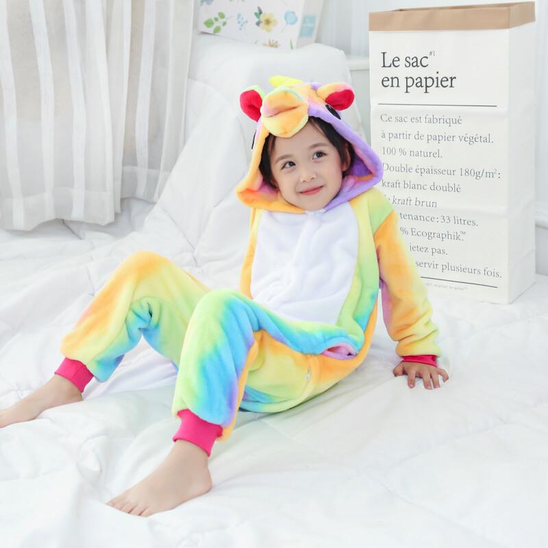 秋冬季卡通动物连体睡衣如厕版儿童款子男童家居法兰绒睡衣gqq