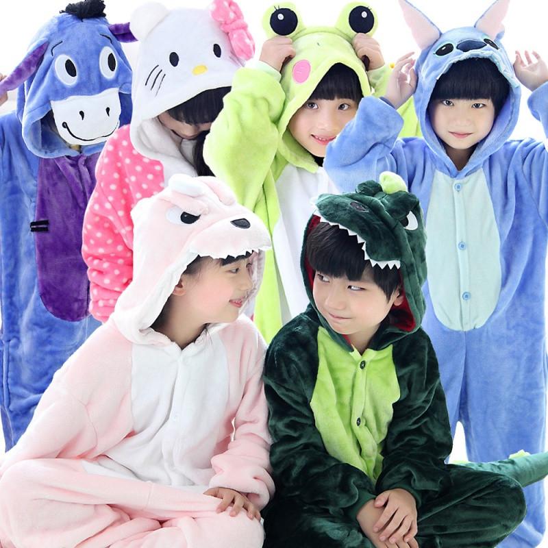 秋冬儿童卡通连体睡衣加厚法兰绒动物恐龙男童女孩可爱如厕家居服