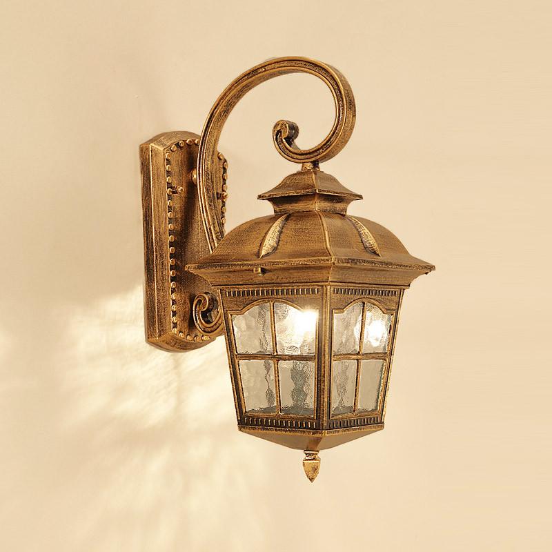 欧式复古庭院灯室外防水壁灯餐厅酒店走廊灯格子灯罩大门灯街道灯过图片