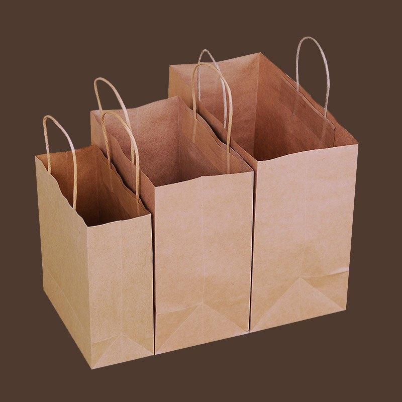 牛皮纸袋一次性打包袋手提外卖食品纸袋面包袋子烘焙包装袋礼品袋多色
