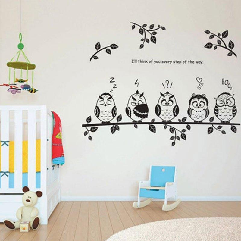 猫头鹰创意墙贴儿童房装饰宿舍房间布置墙壁贴纸玄关墙纸贴画自粘日常图片