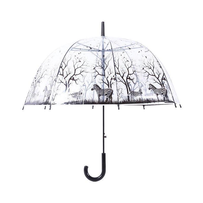 唯美透明伞日本长柄动漫雨伞女黑白小清新简约森系学生公主伞多功能