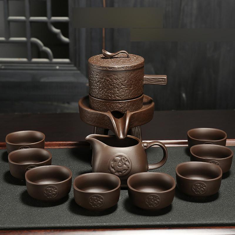 时来运转半自动功夫茶具套装紫砂陶瓷家用懒人石磨泡茶创意防烫生活日