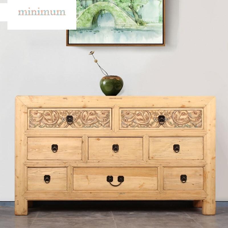 实木餐边柜新中式储物柜雕花彩漆斗柜客厅玄关边柜仿古电视柜