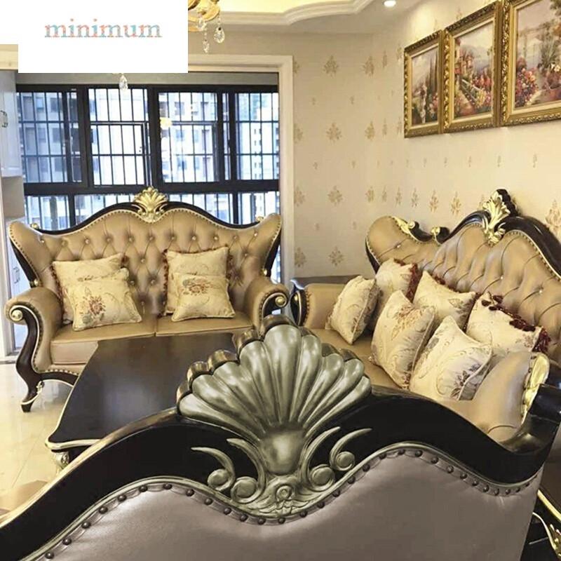 欧式真皮沙发新古典?#30340;?23组合客厅套装法式雕花别墅