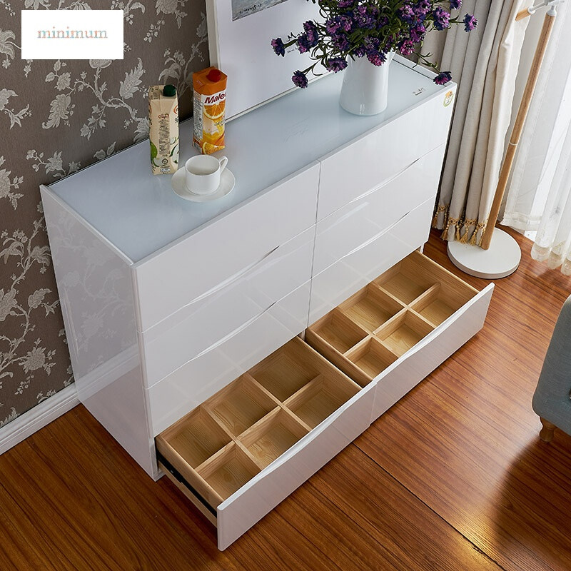 卧室实木斗柜客厅五斗柜储物收纳柜北欧五斗橱抽屉式简约现代白色600