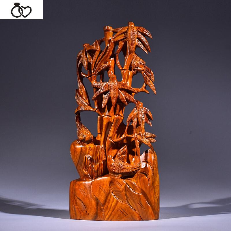 jinglan黄花梨木雕竹子节节摆件家居客厅装饰送礼红木