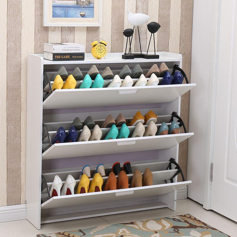 鞋柜白色组装简约现代鞋架门厅玄关柜收纳简易门口超薄翻斗经济型