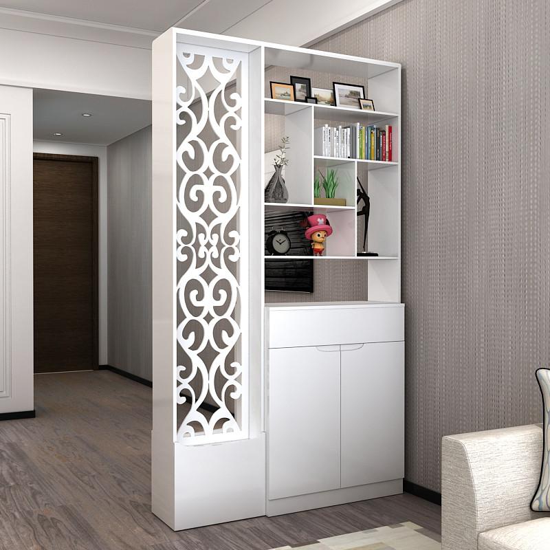 现代双面欧式屏风柜隔断时尚客厅玄关柜木雕花镂空简约鞋柜隔断柜