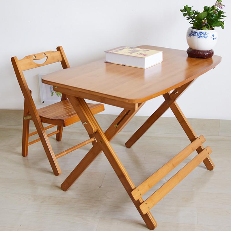 楠竹儿童学习桌可升降折叠书桌椅子套装实木家用小学生写字桌书桌