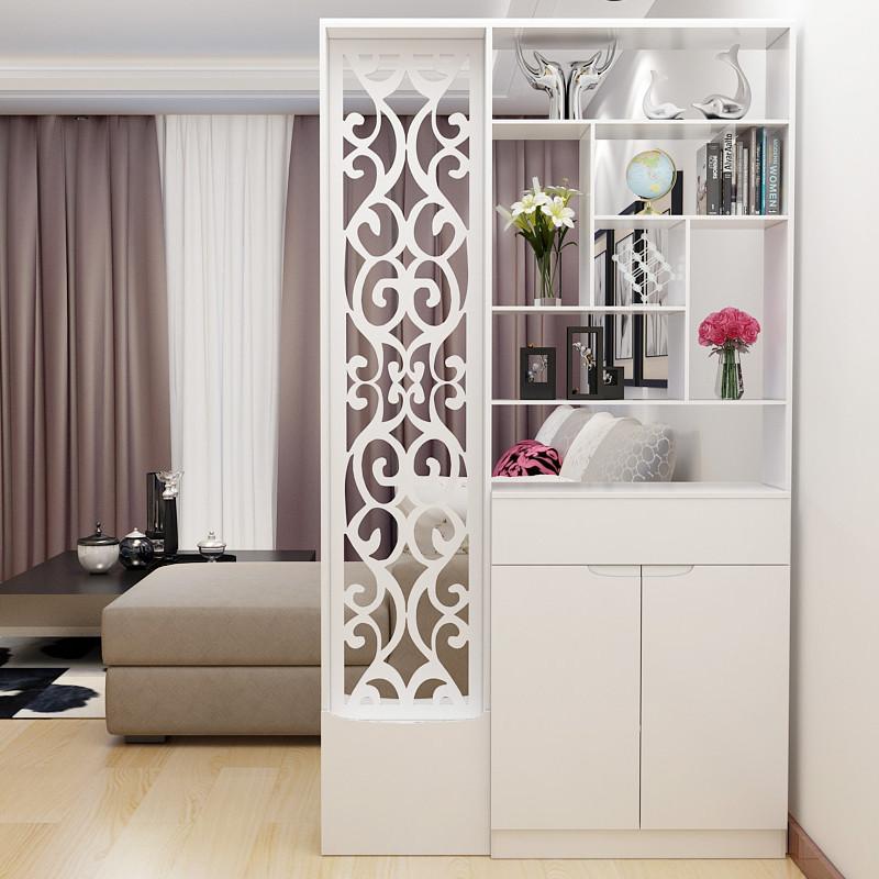 现代双面欧式屏风柜隔断时尚客厅玄关柜木雕花镂空简约鞋柜隔断柜图片