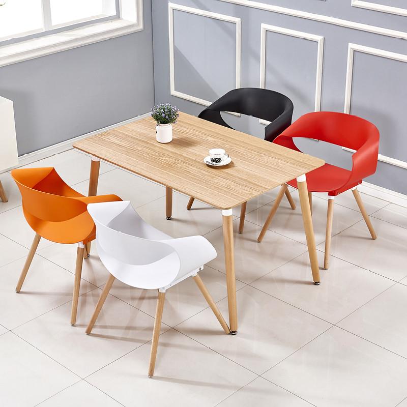 现代简约餐桌椅组合实木餐桌小圆桌方桌洽谈咖啡桌北欧伊姆斯桌子