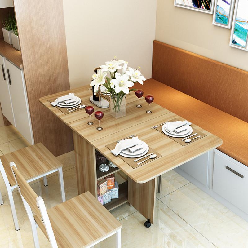 特价多功能餐桌可伸缩简约现代实木质宜家小户型折叠桌餐桌椅组合图片