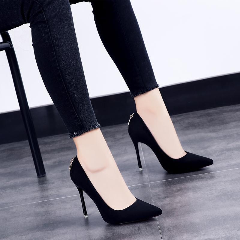 2017秋季新款单鞋女鞋子韩版百搭性感超高跟鞋细跟尖头绒面夏秋鞋