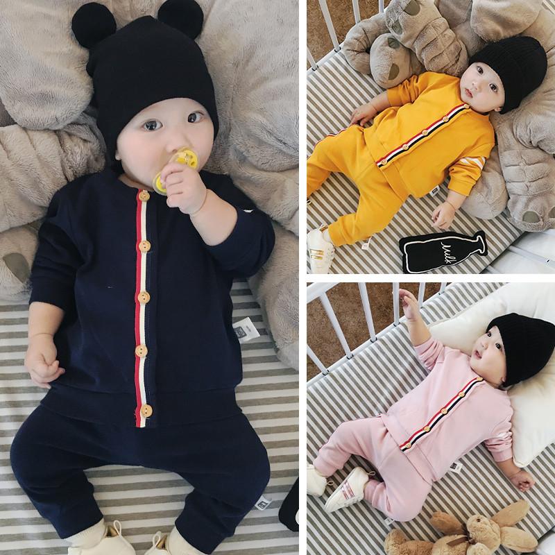 婴儿秋装套装男6-12个月宝宝运动套装秋季衣服女0一1岁幼儿两件套
