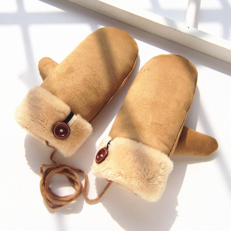 可爱韩版学生日系卡通萌小熊情侣甜美加厚保暖毛绒全指手套女冬