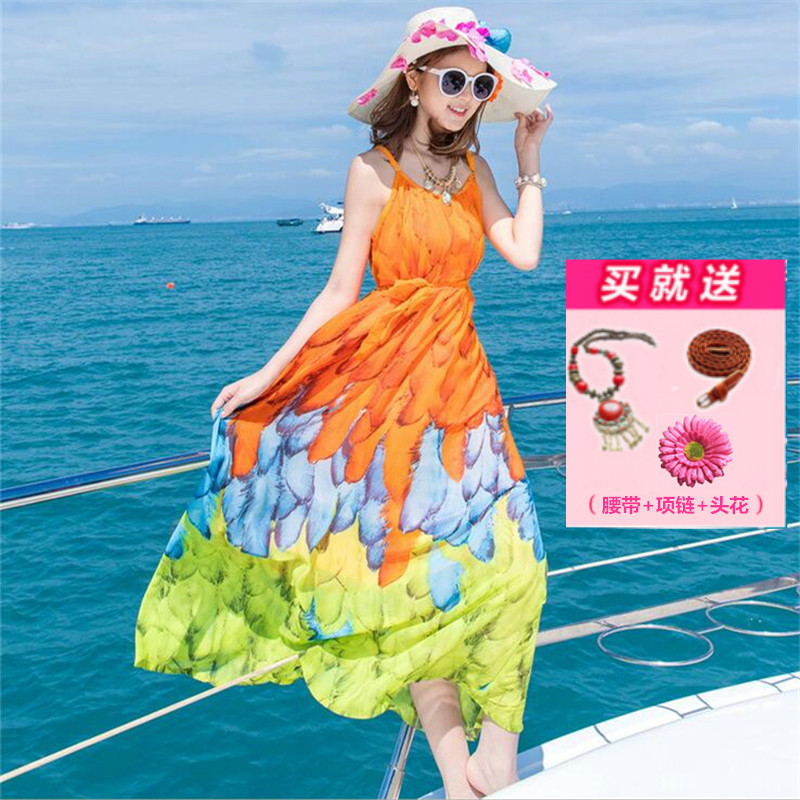 去海边度假泰国海南三亚旅游适合穿衣服女夏海岛沙滩裙藏肉连衣裙
