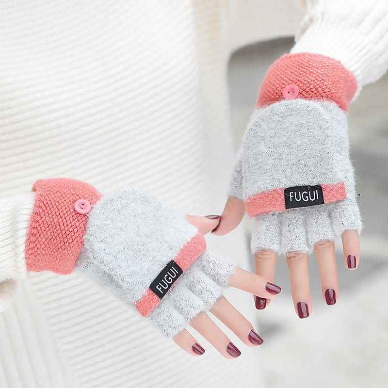 新款韩版可爱手套女冬季学生卡通加厚保暖翻盖毛线露指秋冬天半指手套