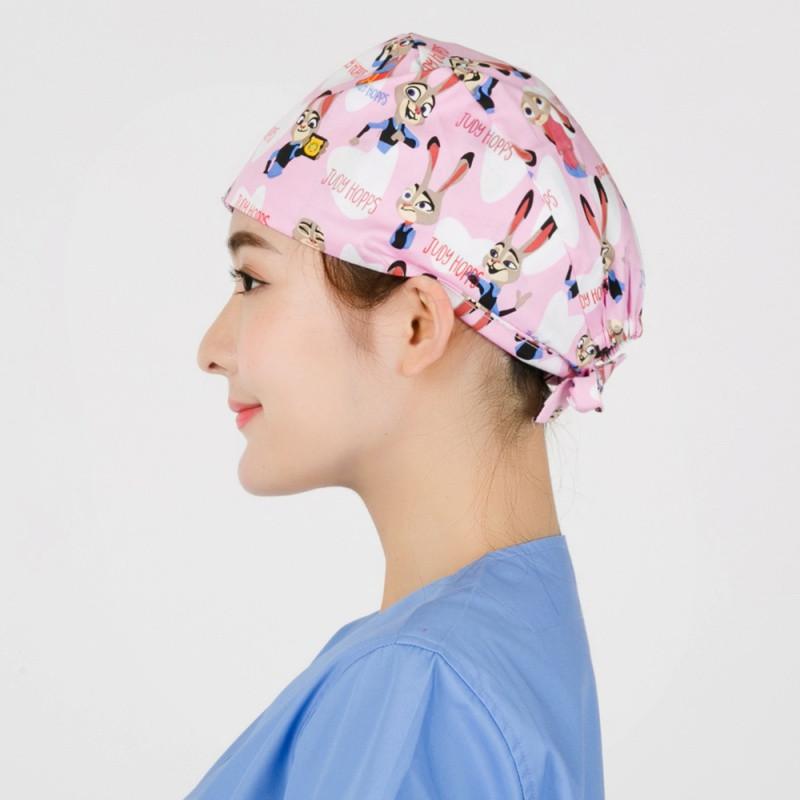 新款 手术室帽子( 医生 护士 美容 纯棉 欧美 印花 葫芦帽)朱迪