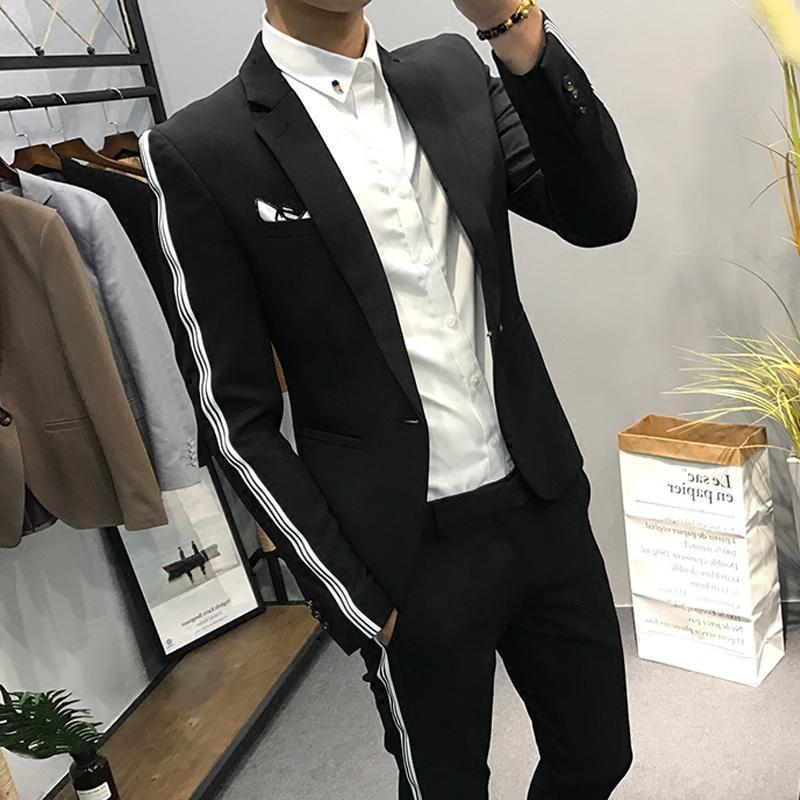 新款马克小店英伦小西装男士外套修身 时尚袖子条纹拼接青年西服上衣