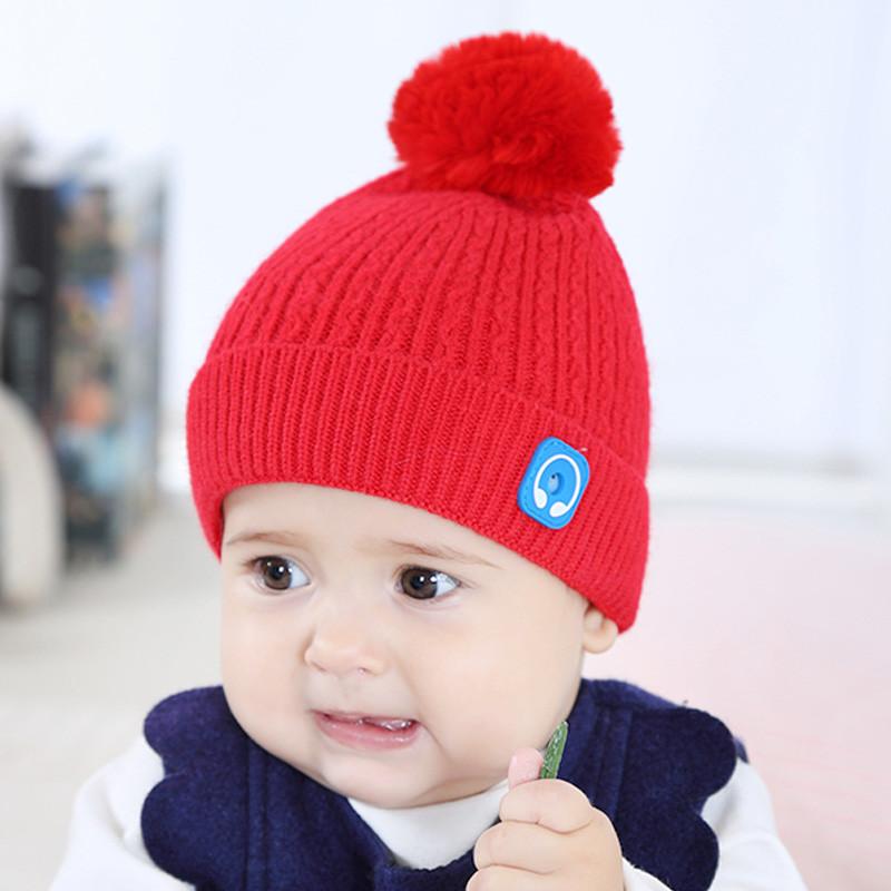 新款婴儿帽子秋冬女宝宝公主韩版0-3-6-12个月可爱毛球女童保暖针织帽