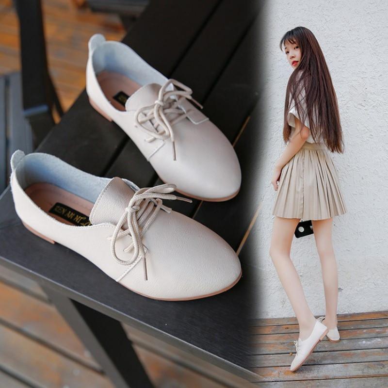 新款女鞋秋季2017新款韩版尖头英伦风小皮鞋女平底软妹学院风百搭单鞋