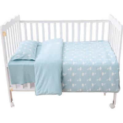 CottonTown棉花堂 嬰兒床上用品套件 純棉幼兒園寶寶床品床單被套枕套四件套嬰兒床四件套柔軟針織棉,隱形拉鏈開合