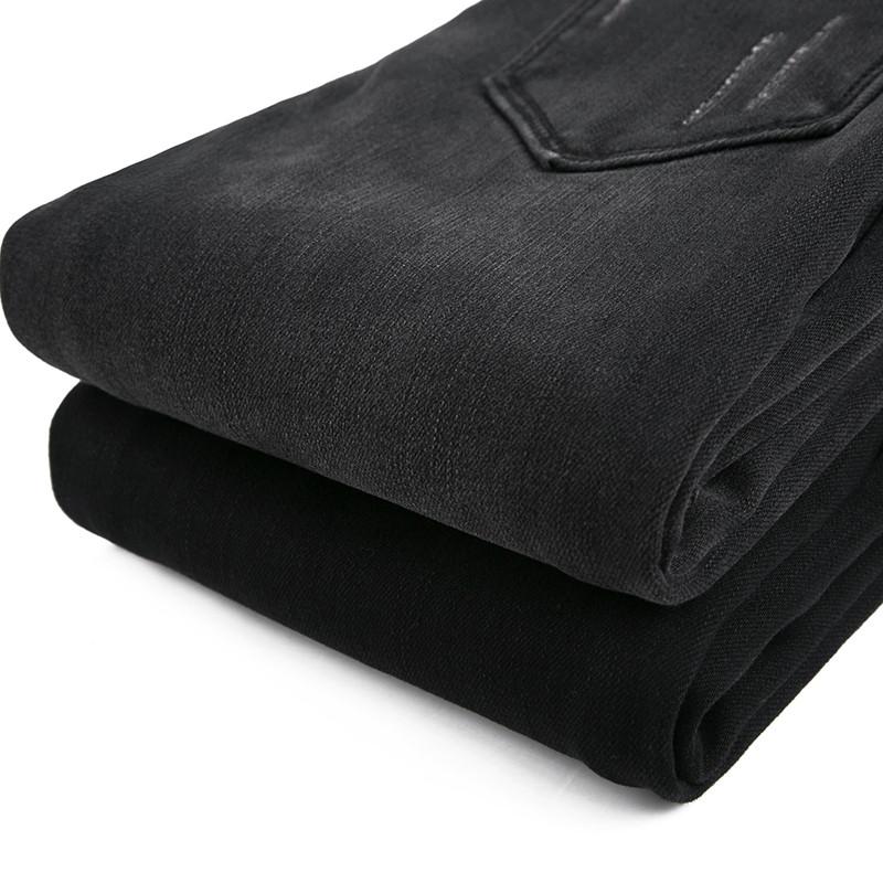新款秋冬新品深灰色牛仔裤女长裤高腰加绒加厚紧身弹力显瘦小脚铅笔裤