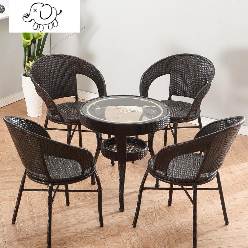 牧马人藤编阳台桌子小茶几简约钢化玻璃小圆桌椅子组合休闲迷你喝茶图片