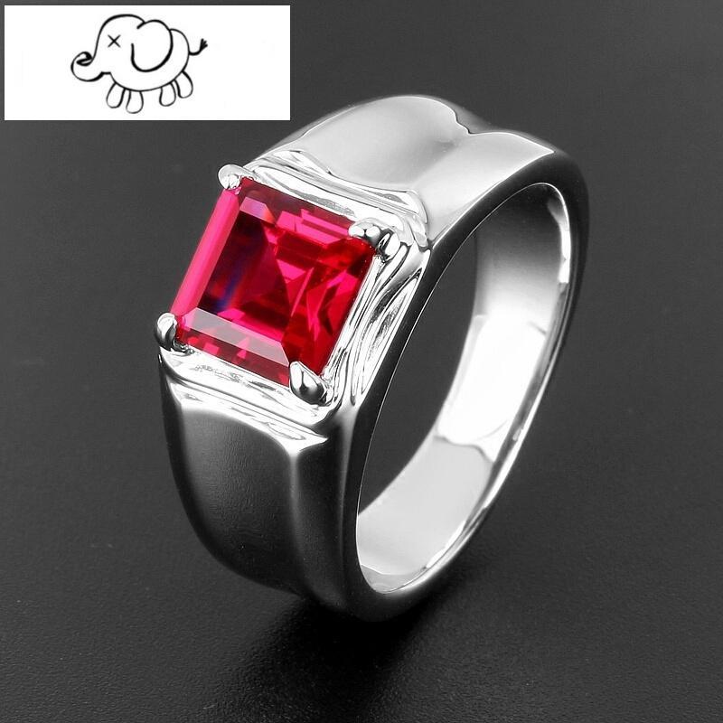正方形红宝石男戒指925银镀白金红刚玉指环饰品简约刻字