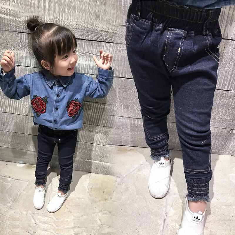 珊诗丽女童加绒牛仔裤冬装2017新款宝宝打底裤子冬