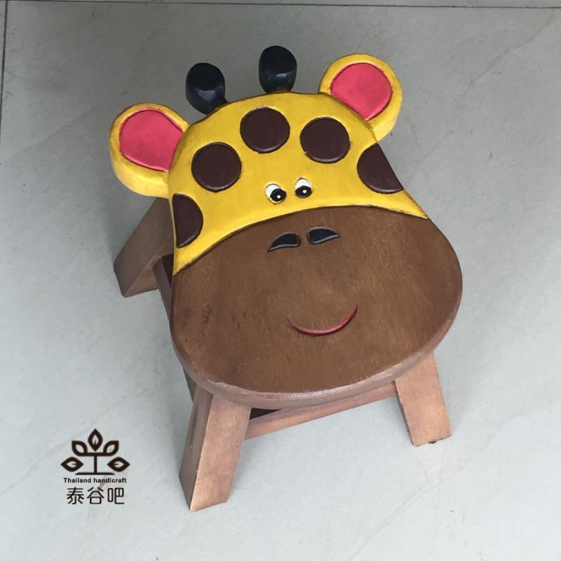 泰国小凳子创意实木儿童凳子卡通可爱小动物小板凳家用小圆凳矮凳