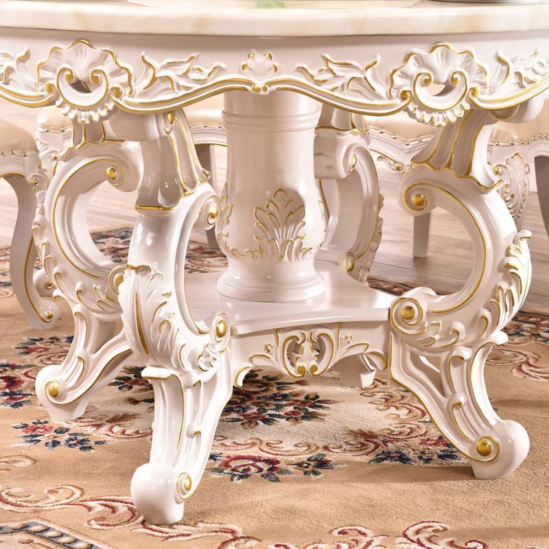 欧式餐桌圆形大理石圆桌全实木雕花白色描金大餐厅餐桌椅组合6人