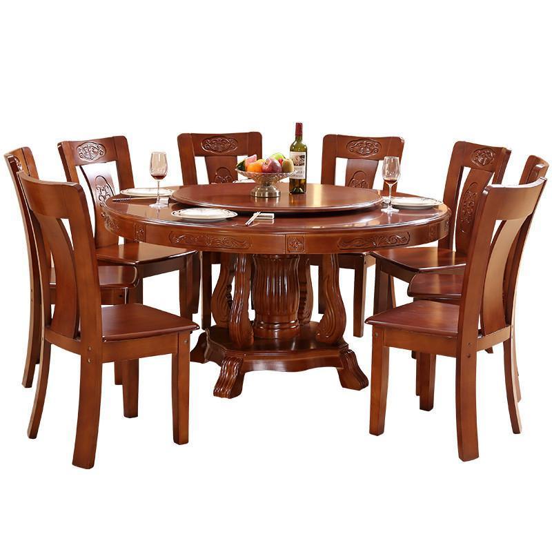 实木圆形酒店雕花大圆桌中式饭桌带转盘1米8家用餐桌椅组合包邮