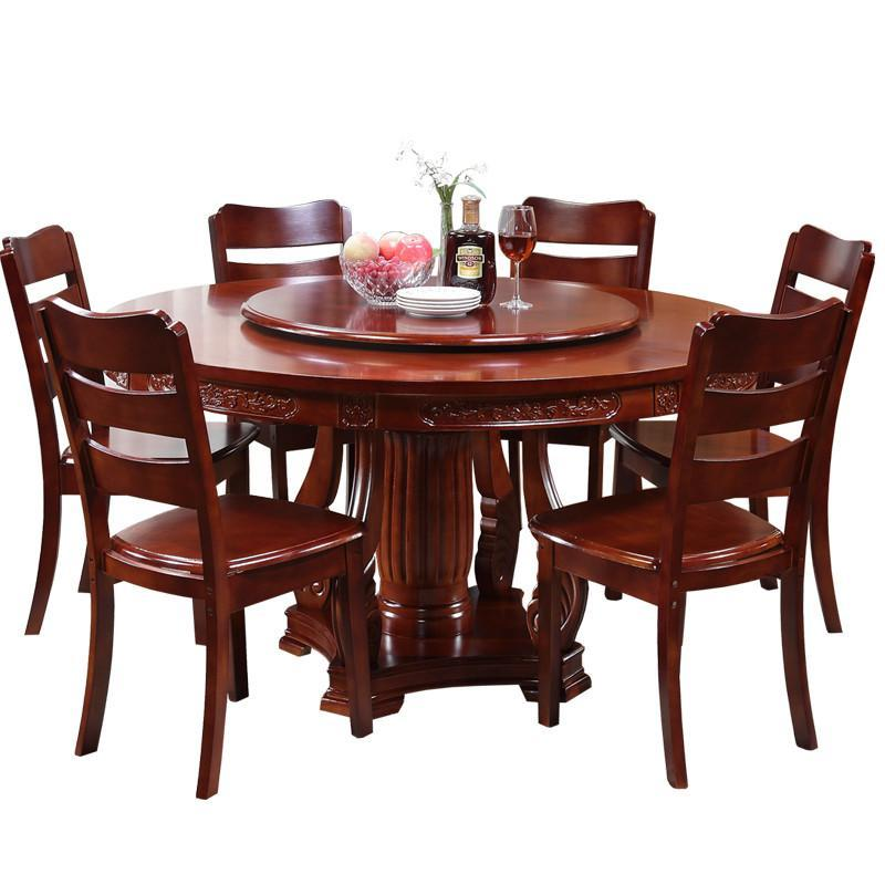 简约现代实木圆形餐桌带转盘1.5米中式1.8大圆饭桌10人餐桌椅组合
