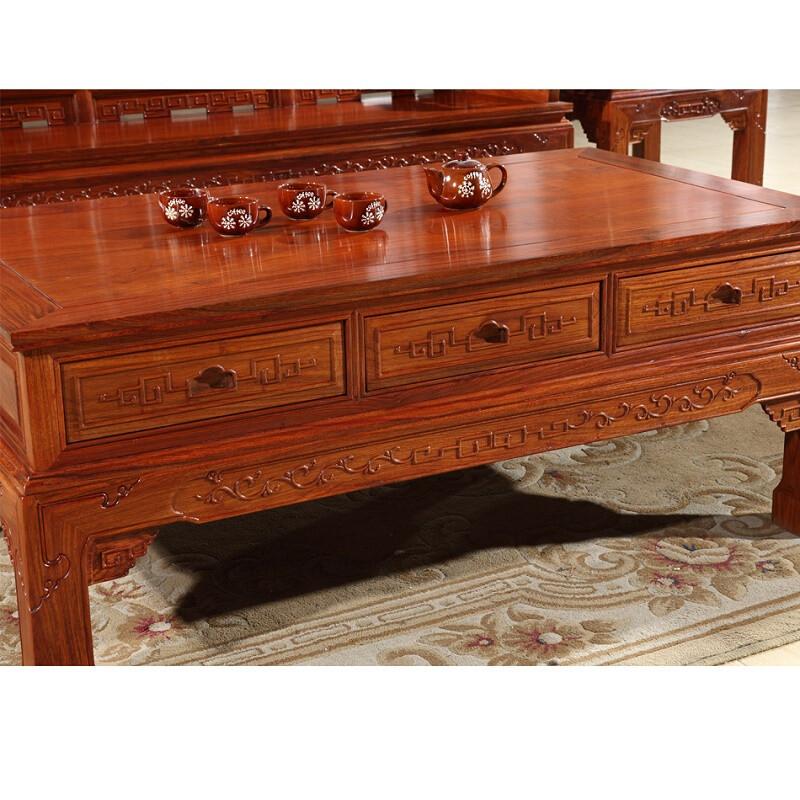 中式仿古雕花客厅沙发椅沙发花梨木沙发组合六件套组合