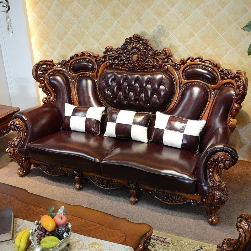 真皮沙发组合实木雕花客厅皮艺四人位别墅大户型古典沙发