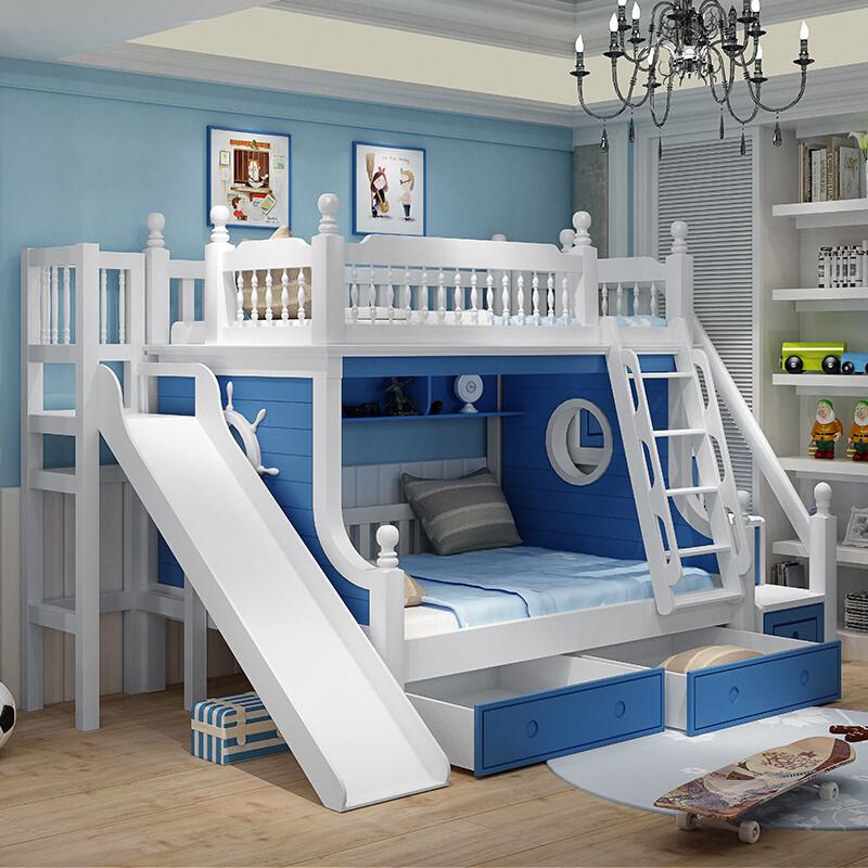 儿童高低床双层床上下床带滑梯床女孩粉色公主床地中海实木子母床