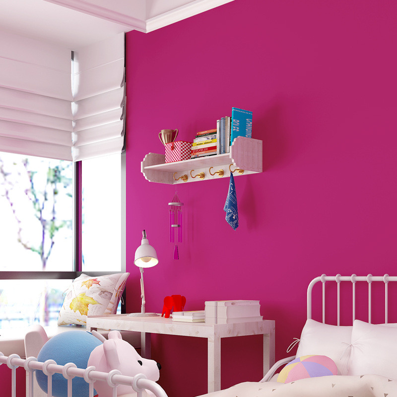 玫红色墙纸卧室客厅背景纯色复古时尚简约美甲女装服装店装修壁纸
