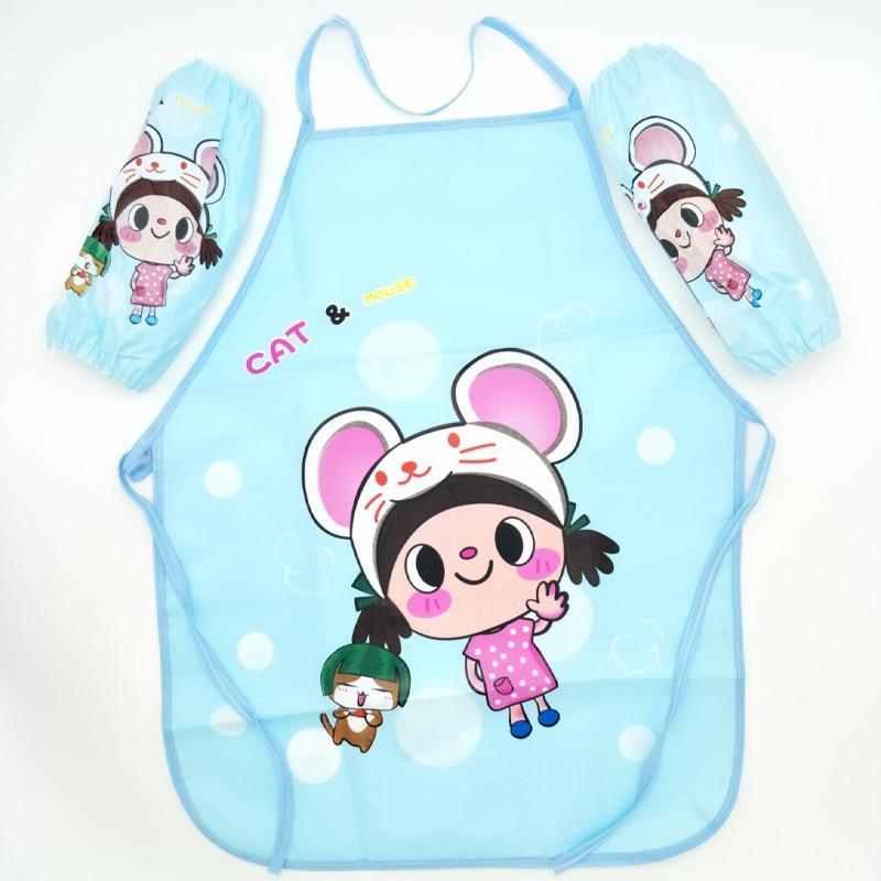 卡通防水围裙套装 可爱儿童美术围裙 宝宝学画画罩衣带袖套套装