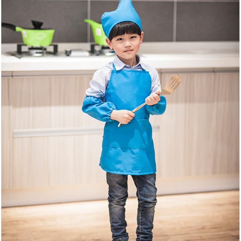儿童节目表演服幼儿园活动围裙小孩子宝宝用带袖套厨师帽logo定制