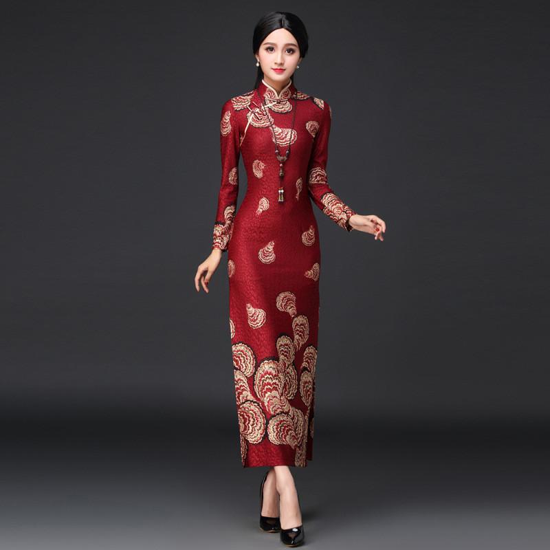 旗袍裙_2018年新款长袖旗袍裙