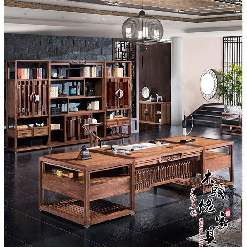 爵尼新中式实木老板办公桌现代禅意书桌总裁桌办公室全套办公家具定制图片