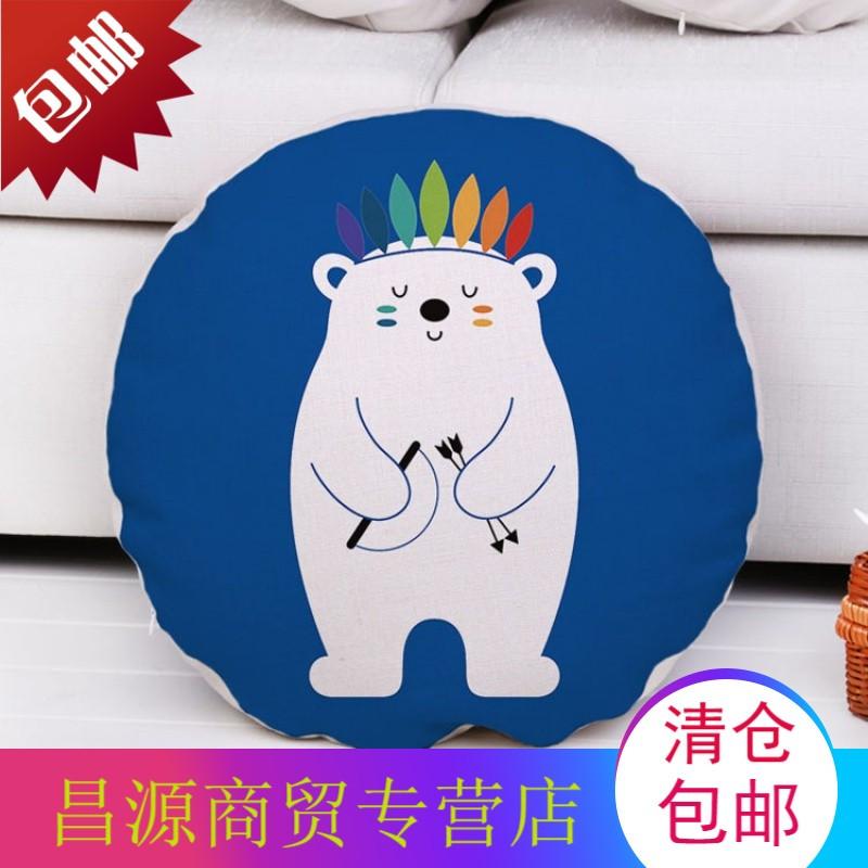 可爱卡通动物圆形棉麻靠枕沙发靠垫抱枕套座椅靠背熊狮子小狐狸鱼