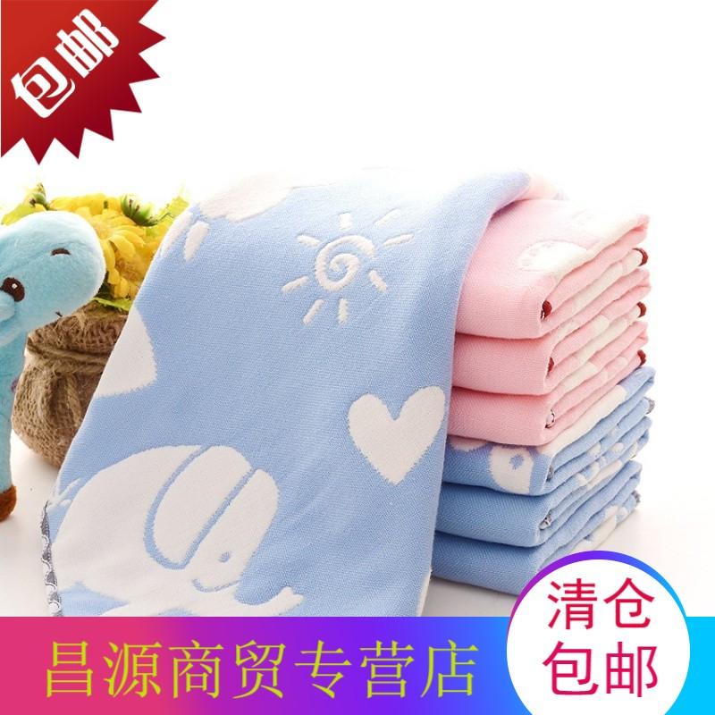 6层纱布纯棉小方巾婴儿童洗脸幼儿园宝宝擦口水全棉挂钩手帕毛巾