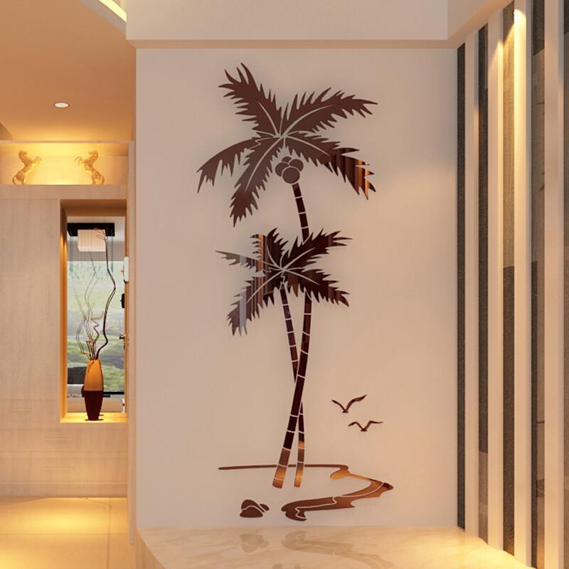 骁熊3d立体墙贴客厅卧室餐厅玄关背景墙现代简约椰树墙面装饰品黑色贴