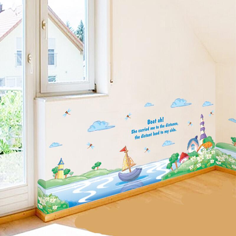 园小班装饰建构区墙面贴纸布置教室的墙贴小学走廊主题墙边框绿色花草