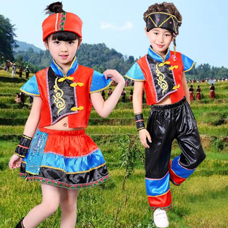 儿童演出服装男女童表演服 幼儿园少数民族舞蹈服装彝族云南傣族