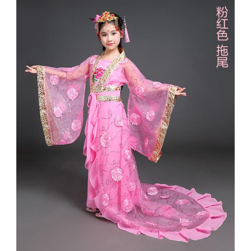 儿童古装服装仙女公主贵妃古典舞表演服汉服女童古代衣服古筝演出图片