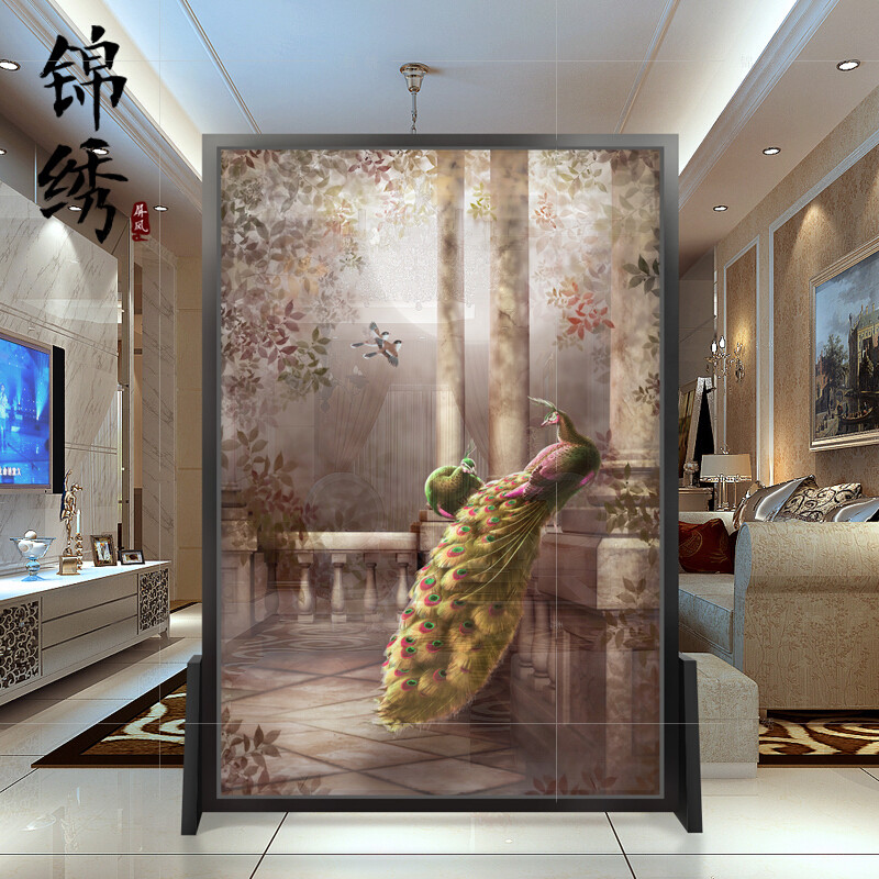 新中式屏风隔断客厅卧室玄关酒店实木镂空半透移动时尚简约座屏半透上